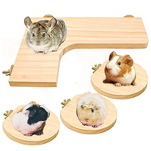 opamooTremplin Hamster, 4 X Hamster Plateforme Tremplin en Bois Animal de Compagnie Plate-Forme Perroquet Station Planche Tremplin Cage Accessoires pour Hamster des Souris Chinchilla Oiseau Petits