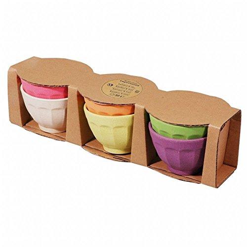 Capventure BV Zuperzozial Ruwe Aarde Zoete Fortuin Set van 6 Regenboog 100% Biologisch afbreekbaar IJs Pudding Dessert Bowl 10cm dia, Bamboe