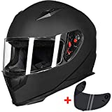 ILM Full Face Motorcycle Street Bike Helmet with Removable Winter Neck Scarf + 2 Visors DOT (XL, Matte Black)