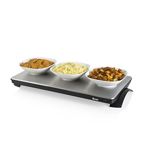 Swan SW12SS XL Cordless Buffet Server and Food Warming Tray Hot Plate, Stainless Steel, Silver/Black, 1000W