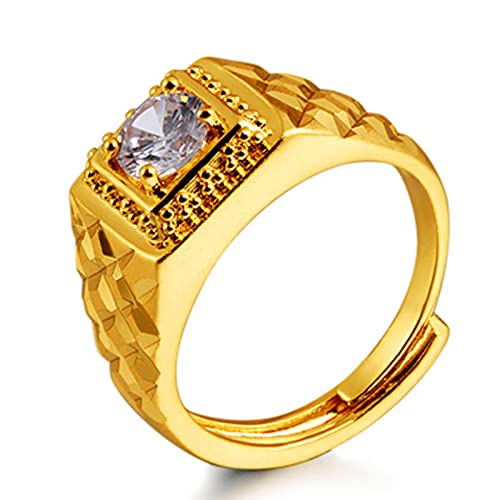 SanSiXing Accesorios de Estilo Europeo y Americano, Anillo de joyería de Oro de Arena, joyería de Moda chapada en Oro para el Anillo de los Hombres con Diamantes y Diamantes (con Diamantes)