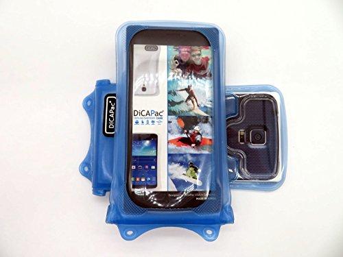 DiCAPac WP-C1 Universelle wasserdichte Hülle für Nokia Lumia 730 Dual Sim/735/820/830 Smartphones in Blau (Doppel-Klettverschluss, IPX8-Zertifizierung zum Schutz vor Wasser bis 10 m Tiefe; integrierter Airbag treibt auf dem Wasser und schützt das Gerät; extraklare Polycarbonat-Fotolinse; inklusive Trageriemen)