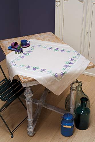 Vervaco Tischdecke Lavendel, Stickbild vorgezeichnet Bedruckte Decke mit Webrand, Baumwolle, Mehrfarbig, 80 x 80 x 0,3 cm