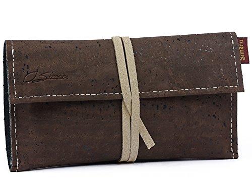 SIMARU Borsello porta tabacco in robusto sughero/cuoio di sughero, Portatabacco incl. Tasche per accendino, filtri e cartine, busta portatabacco da rollare per signori & signore (marrone)
