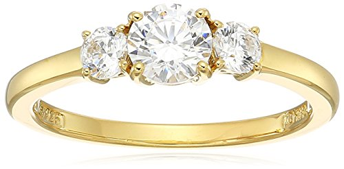 Amazon Collection Yellow-Gold-Plated Sterling Silver Round 3-Stone Ring made with Swarovski Zirconia (1 cttw), Size 7