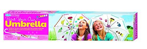 4M 00-04584/HCM Das KidzMaker Bemalset erhellt regnerische Tage für die Kinder. Einen eigenen Regenschirm zu bemalen fördert Kreativität und Geschicklichkeit, Bunt