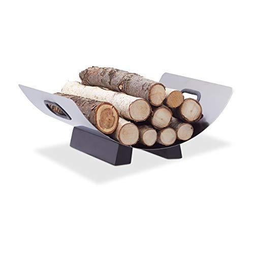 Relaxdays Porte-bûches de cheminée porte-revues inox métal moderne bois HxlxP: 16 x 41 x 33 cm, argenté
