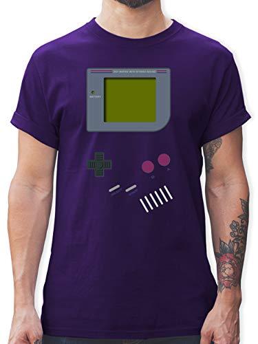 Nerds & Geeks - Gameboy - S - Lila - Gameboy Shirt Herren Nerds - L190 - Tshirt Herren und Männer T-Shirts