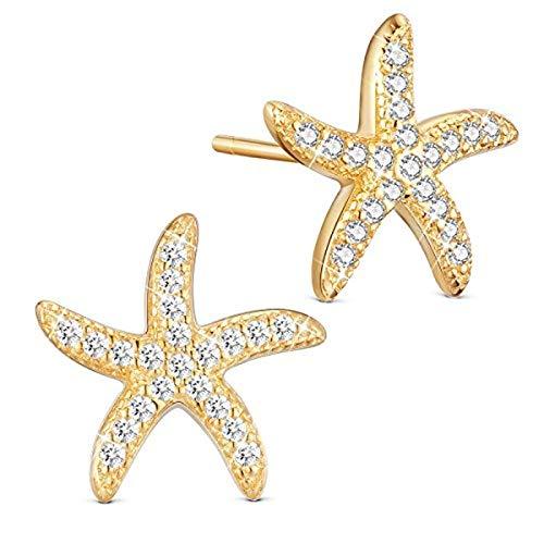 Avkeyu Pendientes de Estrella de mar para Mujer, Fabricados en Plata de Ley 925 Platino, Pendientes micropavé 3A de circonita bañada en Oro, Aptos para Regalos de Playa