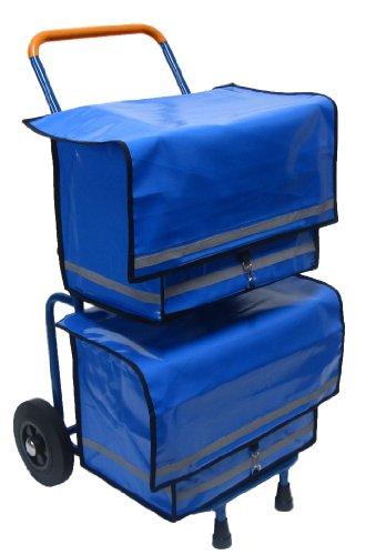 Zeitungsroller Multi2 mit zwei blauen Zeitungstaschen und Luftbereifung, Zustellerbedarf