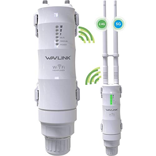 Dual Band 2.4+5GHz 600Mbps Outdoor WiFi Range Extender, WAVLINK-WN570HA1 3 in 1 Wireless PoE Access Point AP (CPE)/ Exterior Router/Repeater Internet Amplifier Network Signal Booster in 2 Antennas