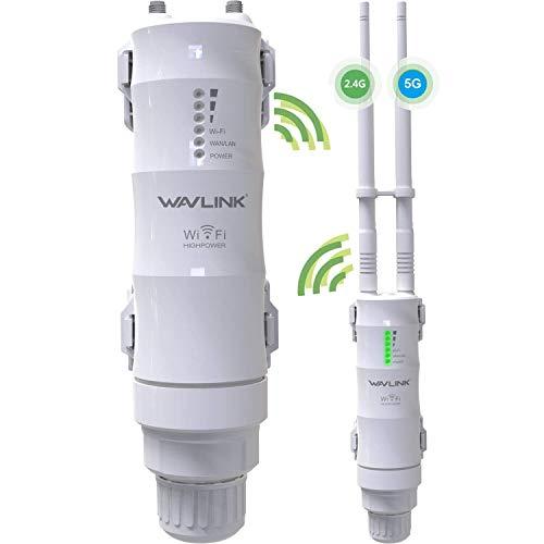 Extensor de alcance WiFi de doble banda 2.4+5G 600Mbps para exteriores, WAVLINK-WN570HA1 3 en 1 punto de acceso PoE inalámbrico AP...