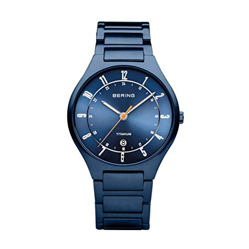 BERING Herren Analog Quarz Uhr mit Titan Armband 11739-797