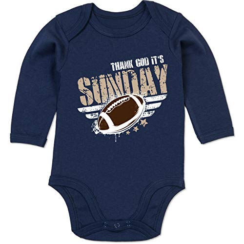 Sport Baby - Thank God Its Sunday Football - 3/6 Monate - Navy Blau - Body Football - BZ30 - Baby Body Langarm