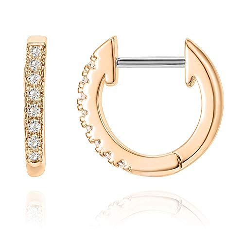 PAVOI 14K Rose Gold Plated Post Cubic Zirconia Cuff Earring Huggie Stud