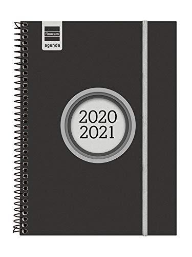 Finocam - Agenda Curso 2020-2021 E10, 155 x 212 Semana Vista Apaisada Espir Label, Negro, Español