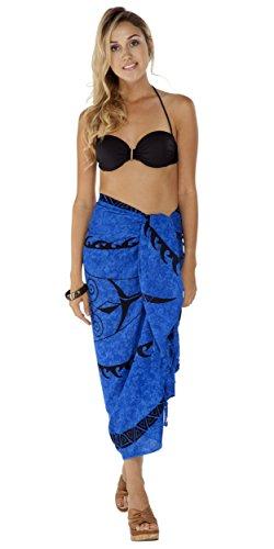 1 World Sarongs Damen Tattoo Badeanzug Cover-Up Sarong in Königsblau