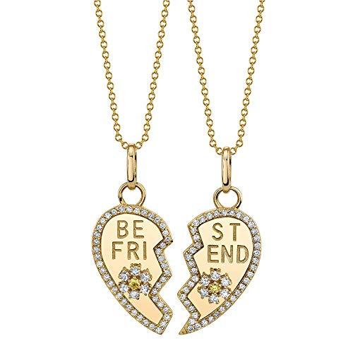 2 collares de la amistad Forever – Plata de ley 925 bañada en oro de 18 quilates – Par de collares para mujer «Best Friends»