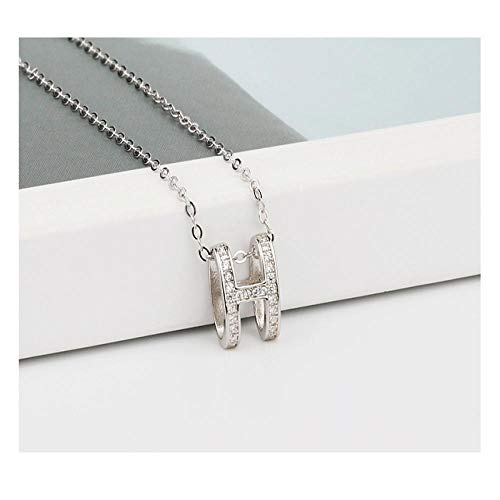 Collar de plata de ley estilo europeo y americano, diseño de diosa del temperamento, letra H, cadena de clavícula, simple collar de plata de ley con colgante de plata de ley