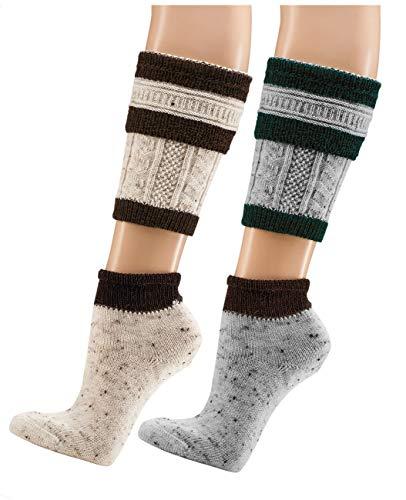 Wowi Wadenwärmer n& Socken 2teilig, Loferl aus Tweed-Garn (39-42, grau/grün)
