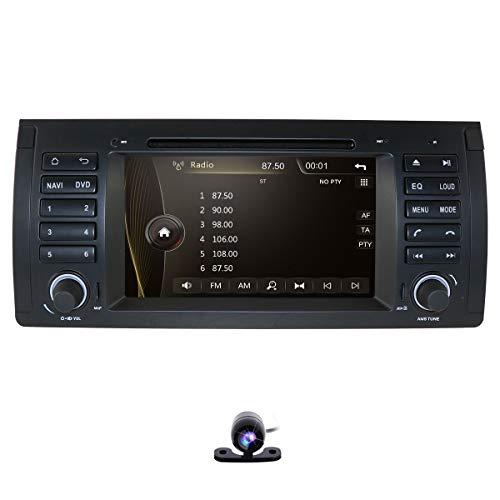 Autoradio DVD CD Player für BMW 5er E39 M5 X5 E53 mit GPS Navi-Karte 7 Zoll Display Unterstützt Bluetooth USB MicroSD Lenkradfernbedienung Subwoofer iPod (Autoradio)