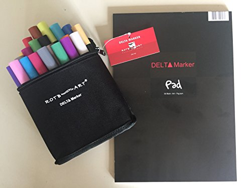 DMS24 - ROTBART - Delta Marker 24er Set - incl. praktischer Tasche + 1 Marker-/Mangablock DIN A4 GRATIS!!! TOPANGEBOT MIT DEM EXTRAPLUS!!!