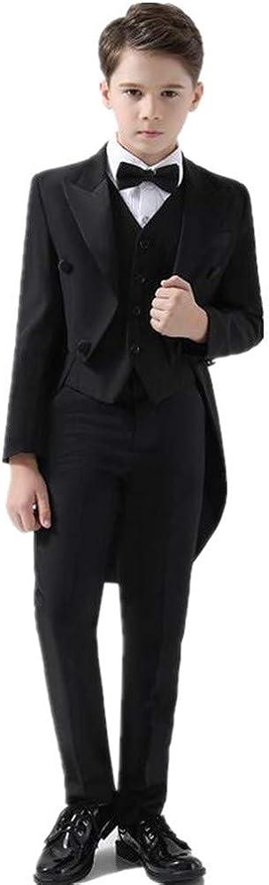 4 Pieces Black Tail Boy Tuxedo Suits Max Max 46% OFF 61% OFF Slim Jacket+Pants+Vest+ Fit