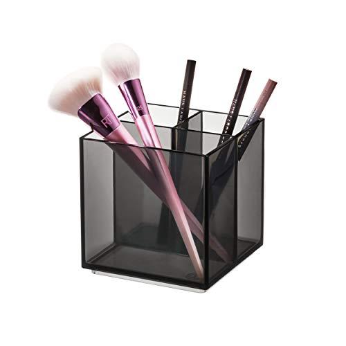 iDesign 95326EU Makeup Organizer, Pot 3 Compartiments de la Collection Exclusive Sarah Tanno, Rangement Maquillage en Plastique pour pinceaux et Crayons, Gris, 10, 4 x 10,7