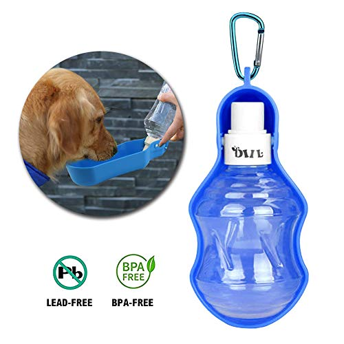 Petbob Pet Water Bottle, Portable Dog Travel Drinker with Metal Carabiner, Pet Water Bowl No Drip, Water Dispenser for Small to Large Pet (250ml)