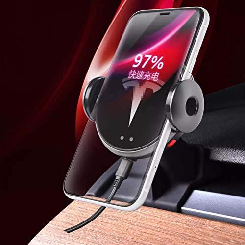 JYCX Soporte para Teléfono De Coche De Carga Inalámbrica Accesorio De Soporte De Cargador Rápido Automático Universal para Tesla Modelo 3
