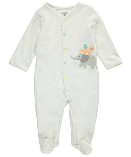 Carter's Baby Elephant and Friends Footie 6 Months White