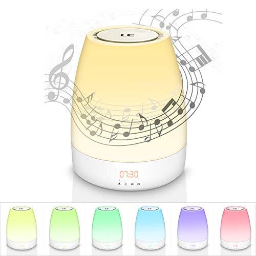 Lichtwecker LE Wake up Licht mit Bluetooth Lautsprecher,Wake-up light mit 3 Helligkeiten,160 Millionen Farben dimmbares Nachtlicht,Nachttischlampe mit Touchfunktion,Nachttischleuchte für Schlafzimmer