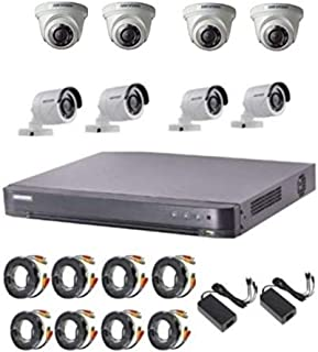 2MP HD(1080p) Hikvision 8CH DVR, 4 Bullet Camera,4 Indoor Camera, Power supply, 20 Meter Cable 8 Pcs. (CCTV Camera for home)