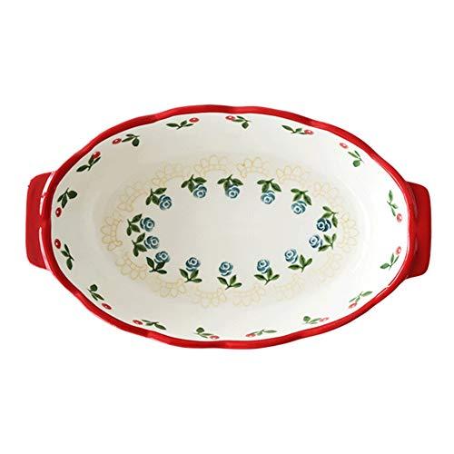 Platos para hornear, cerámica de cerámica Au Gratin Sartenes Bakeware, horno para plato de cazuela de mesa, plato óvalo para hornear, pan para cocinar, cocina, cena de pastel, banquete y uso diario, r