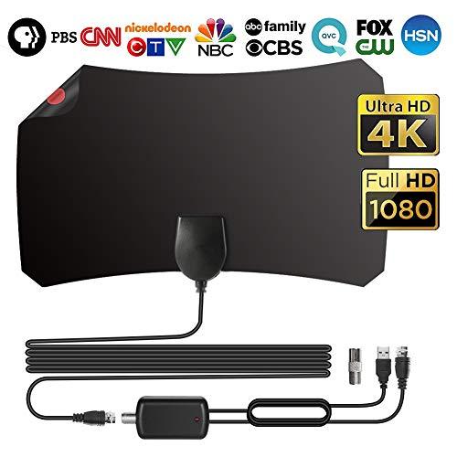 TV Radius Antenne, 120 Miles Freeview HDTV Verstärker Digitale HDTV-Antenne Indoor for DVB-T/DVB-T2, 0.5mm Papierdünne TV-Antenne, 12.1ft koaxialkabel