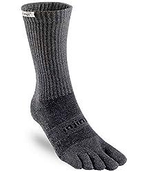 top rated Injinji TRAIL Middleweight Crew Coolmax Socks, Granite, Large 2021