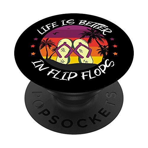 Life is better in Flip Flops vintage Strand Urlaub Geschenk PopSockets PopGrip: Ausziehbarer Sockel und Griff für Handys/Tablets mit Tauschbarem Top