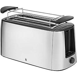 WMF Bueno Pro Toaster Langschlitz, 4er Toaser-Doppelschlitz, für 4 Toast- oder 2 Brotscheiben, XXL-Toast, Aufknusper-Funktion, 6 Bräunungsstufen, Brötchenaufsatz, edelstahl matt