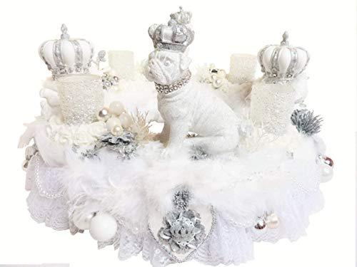 Adventskranz EISPRINZEN weiß-silber große Luxus Adventsdeko Mops Kronen Fell romantischer Shabby Weihnachtskranz Weihnachtsdeko Teelicht Tischkranz Advent Glamour