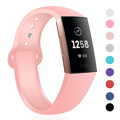 TSAAGAN Sport Silicone Band Compatible with Fitbit Charge 3/Charge 3 SE, Thin Soft Adjustable Replacement Strap Wristband Accessory for Fitbit Charge 3 Fitness Activity Tracker (Large, Rose Pink)