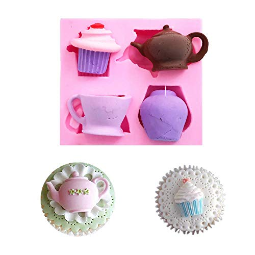 Teapot Cup Cupcake Shape Afternoon Tea Silicone Mold Sugar Chocolate Candy Fondant Cake Cupcake Toppers Decoration Tool Polymer Clay Epoxy Resin Mold