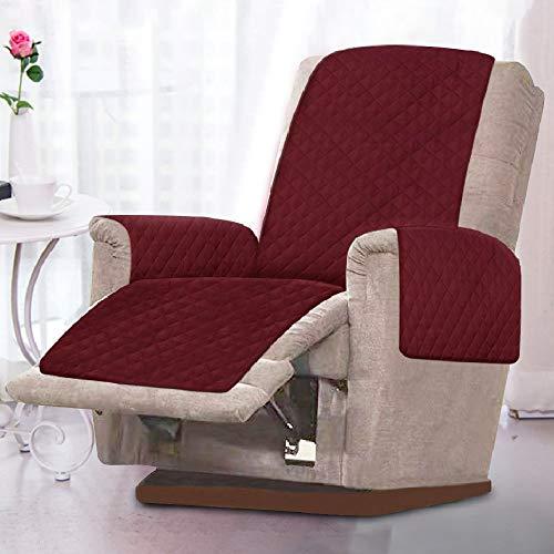 Sesselschoner Sesselauflage Relaxsessel Sofaschoner mit Zweiseitig Verwendbar Antifouling Waschmaschinenfest Gepolsterter Sofaschutz Armlehnen Sesselüberwurf (rot)