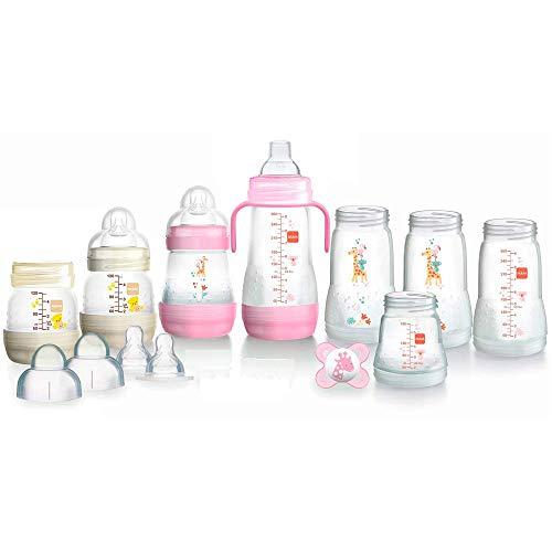 MAM Easy Start Anti-Colic Babyflaschen Set, Bodenventil gegen Koliken, mitwachsend, selbst-sterilisierend, Farbe: rosa-creme