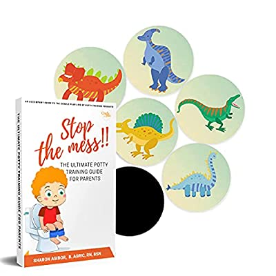 Potty Training Seat Magic Sticker | Dinosaur toddler Potty Training Toilet Color Changing Sticker | 5 Pack Toilet targets with FREE potty e book | Use with or Without Potty chart or potty watch from Cradle plus