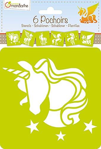 Avenue Mandarine - Set de 6 Plantillas con Formas y diseños Diferentes (Animales, Objetos, Letras, etc.)