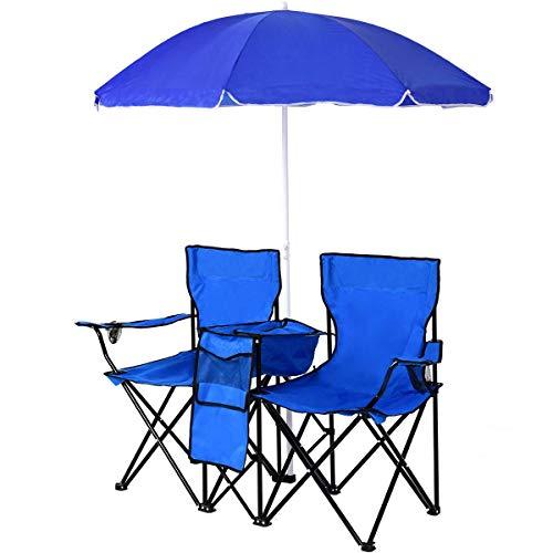 GOPLUS Doppelsitzer Campingstuhl, aus Oxford-Stoff & Stahl, mit Sonnenschirm & Tragetasche, Klappstuhl für Paare, mit Getränkehalter & Eisbeutel, Tragbarer Picknickstuhl, für Reisen, Camping
