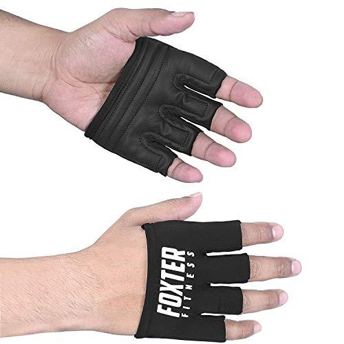Foxter Crossfit Handschuhe fingerlose Handgriffe – Gym Workout, Bar Pull Up, Cross Training, Hanteln, Langhanteln, Kreuzheben, Kraftheben, Schwarz , xxl