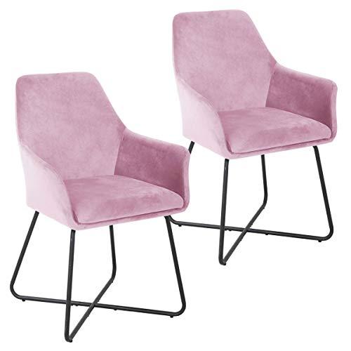 SVITA Josie Dining 2er Set Esszimmerstuhl Sessel Polsterstuhl Samt (Pink)