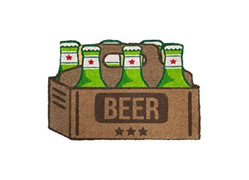 Fisura   Felpudo Cervezas Rectangular 60x40 cm Marrón y Verde Puerta de Entrada Divertido y Original, Fibra de Coco Natural, PVC Antideslizante