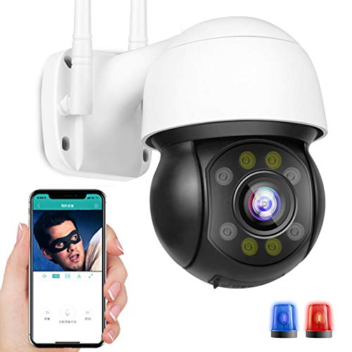 Cámara WiFi PTZ de Vigilancia de Seguridad Exteriores HD 3MP Impermeable Seguimiento Automático IP Cámara,Visión Nocturna Color,Sonido de Alarma DIY,Onvif,Almacenamiento en la Nube(Pago) 【Cámara+32G】